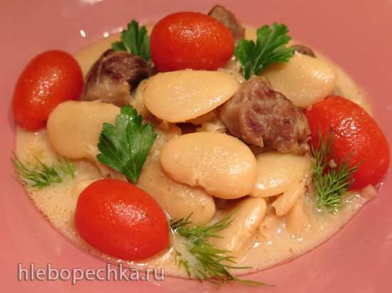 """Фасоль """"Лима"""" с индейкой в сливочном соусе"""