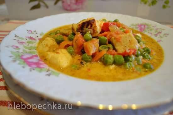 Рагу веганское с овощами, зеленым горошком, сыром панир, кокосовыми сливками