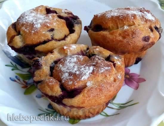 Цельнозерновые творожные кексы с чёрной смородиной Цельнозерновые творожные кексы с чёрной смородиной