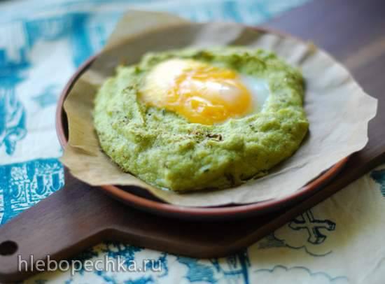 Яичница в духовке с суфле из брокколи