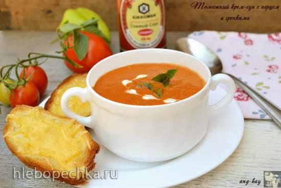 Томатный крем-суп с перцем и гренками