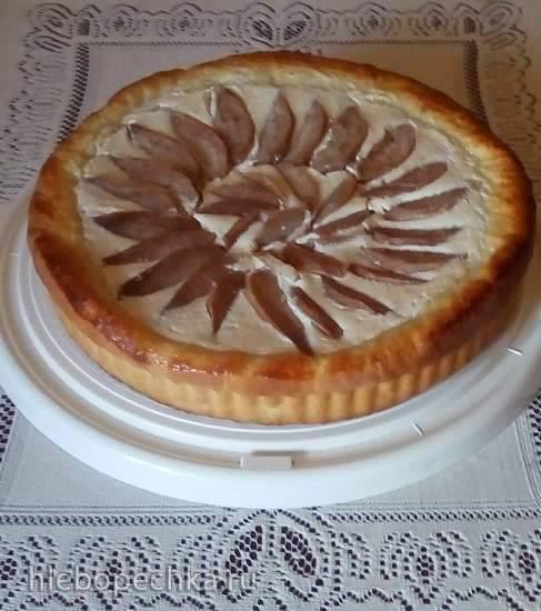 Дрожжевой творожно-грушевый пирог