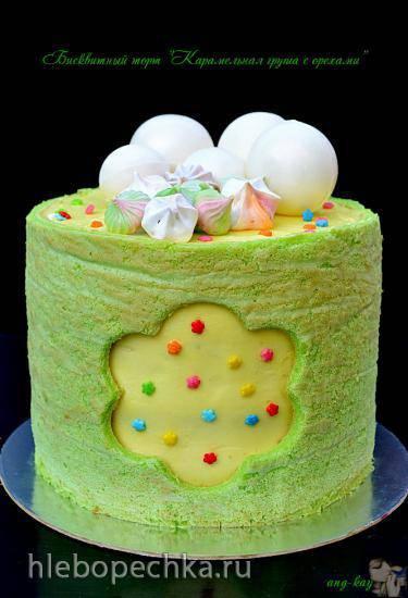 """Бисквитный торт """"Карамельная груша с орехами"""""""