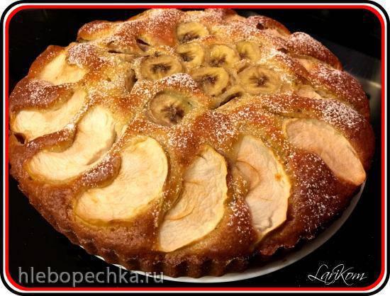 Кекс с яблоком и бананом на кефире Кекс с яблоком и бананом на кефире