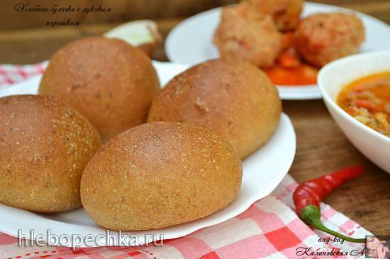 Хлебные булочки с луковым порошком