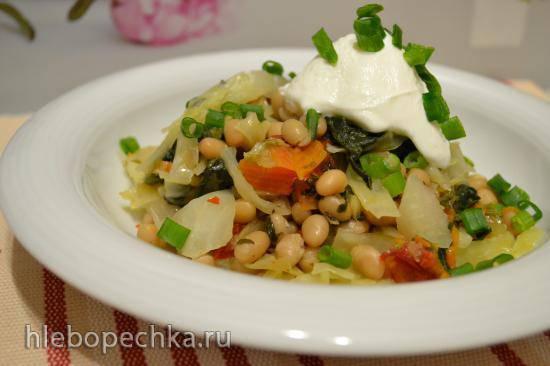 Рагу из капусты со шпинатом и фасолью (для вегетарианцев и веганов)