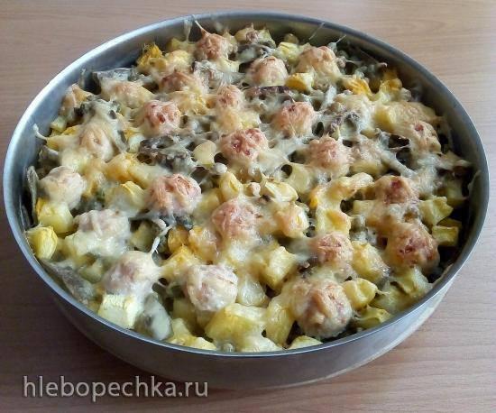 Овощное рагу с рыбными фрикадельками под сырной корочкой