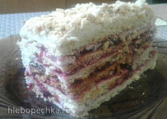 Торт песочный с ягодным джемом и манным заварным кремом