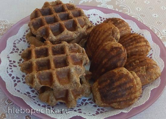 Орехово-льняные толстые вафли и мадленки