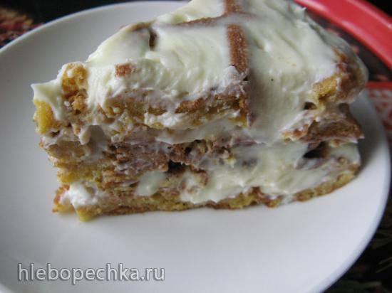 Мини-тортик из тыквенных вафель