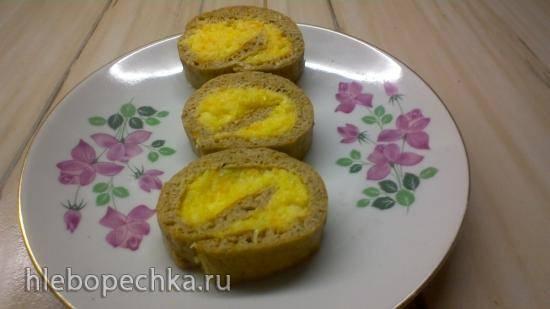 Рулет диетический из бескрахмального теста с лимонно-апельсиновой начинкой