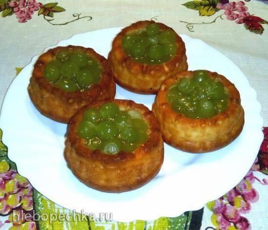 Корзиночки творожные с ягодами в желе (3 варианта теста)