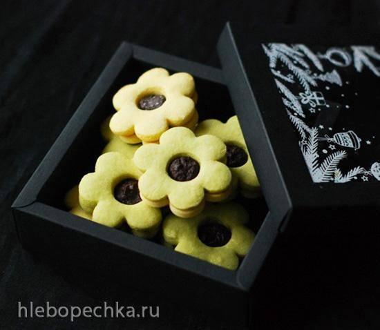 Песочное печенье с ганашем и чаем matcha