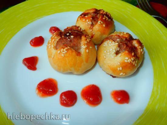Пирожки-тюльпаны из быстрого слоеного теста