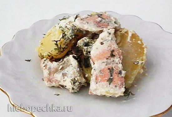 Кета с катофелем в сливочно-горчичном соусе (+видео)
