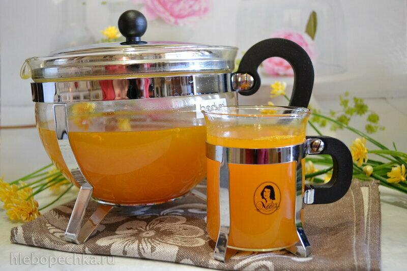 Детокс-напиток облепиховый с имбирем на зеленом чае