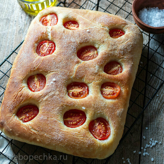 Фокачча с томатами на опаре