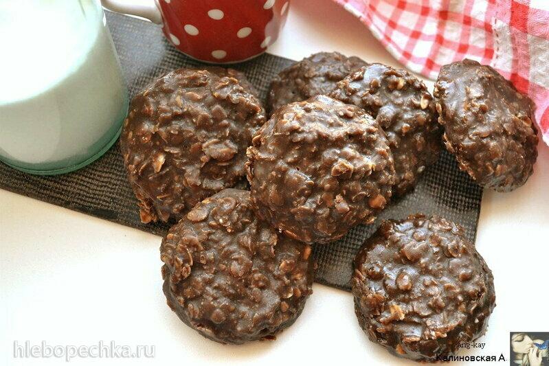 Овсяно-шоколадное печенье с арахисовым маслом без выпечки