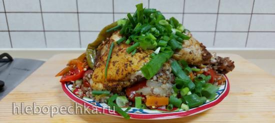Гречка с овощами и курицей в чугунном казане запеченные в духовке!!!