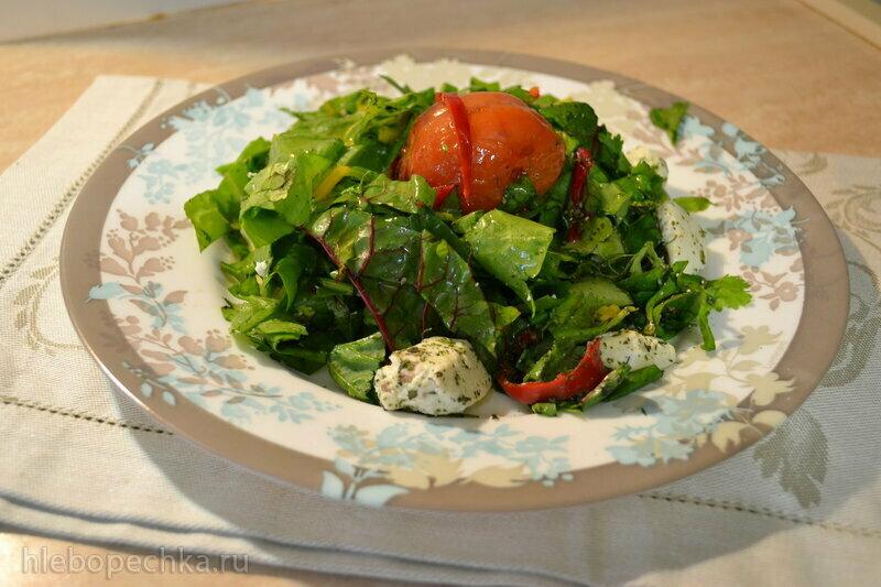 Салат из разноцветных листьев мангольда по грузинским мотивам
