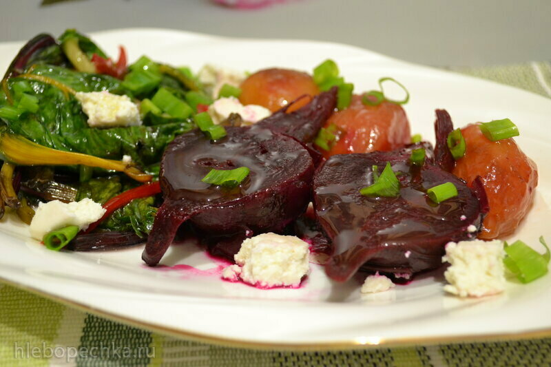 Салат со свеклой, маринованными сливами и заквашенным мангольдом по грузинским мотивам