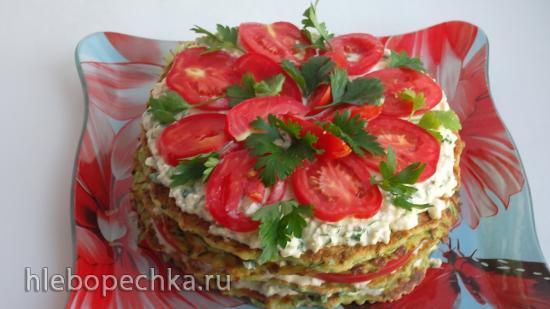 Закусочный кабачковый торт (+видео)
