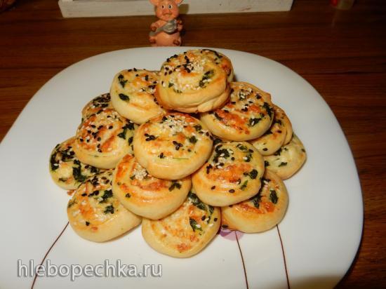 Булочки слоеные с шпинатом и сыром