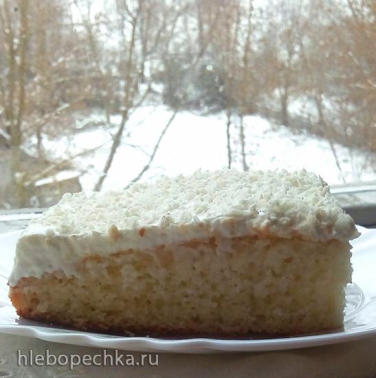 Бисквитный торт Первый снег