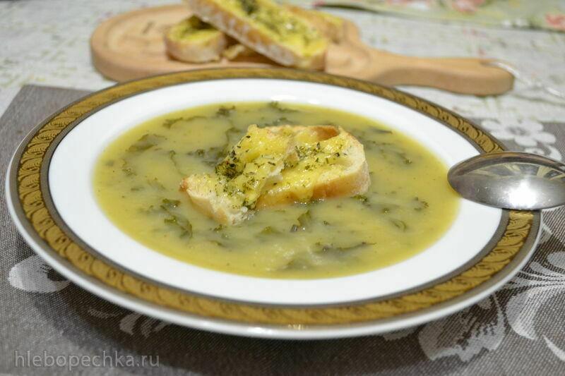Картофельный суп-пюре с репой, капустой кейл, сырными гренками