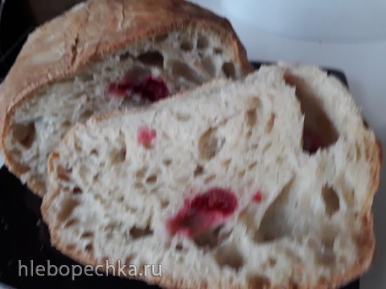 Хлеб деревенский с клюквой на биге