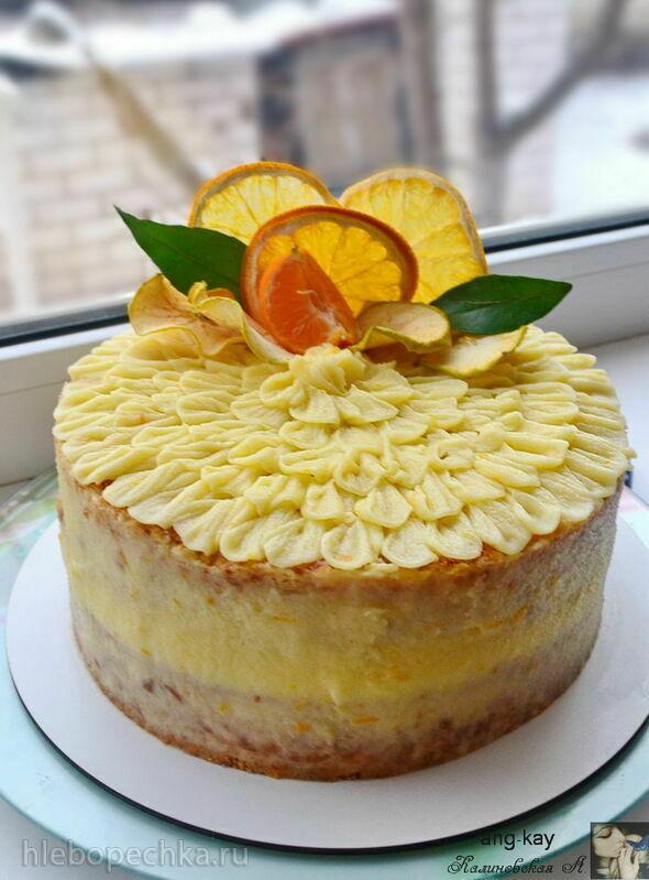 Апельсиновый постный торт с апельсиновым соусом (+видео)