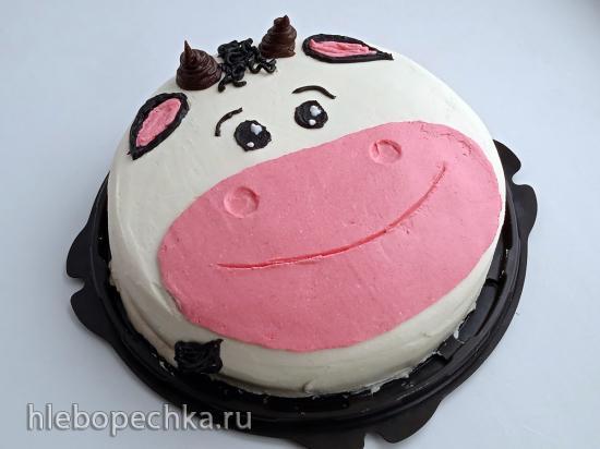 Торт «Бык», украшение кремом (+видео)