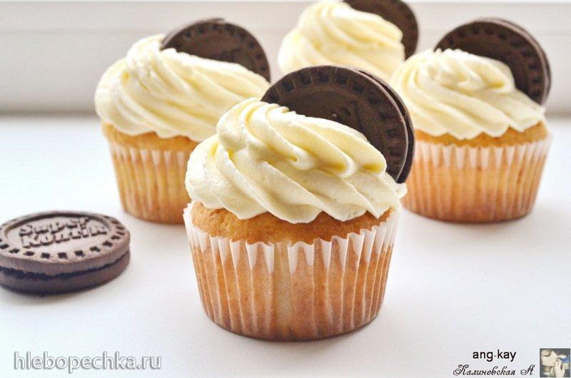 Капкейки с белком и шоколадным печеньем