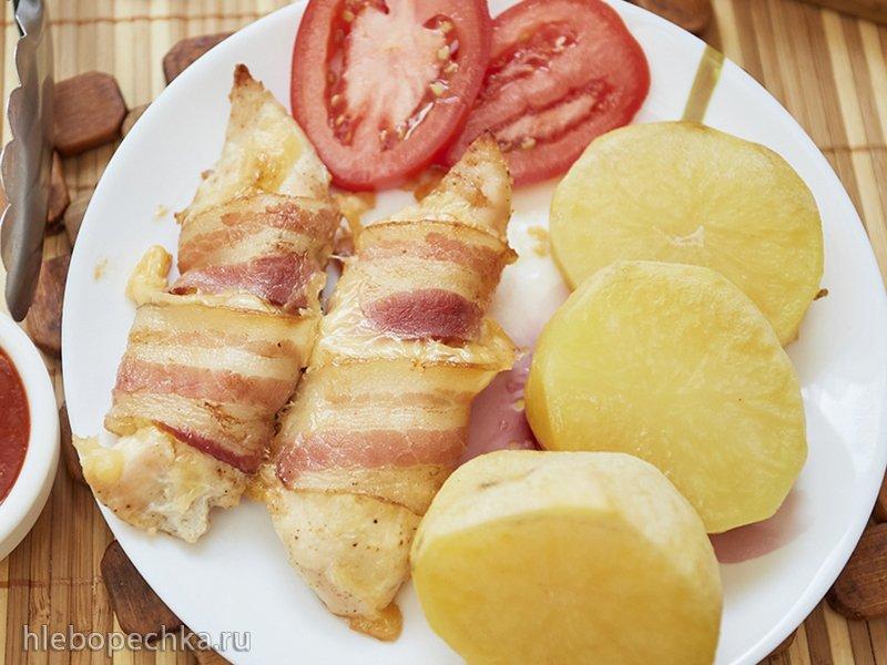 Это к ужину: Малое куриное филе с сыром в беконе