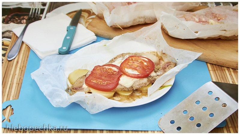 Рыбка в духовке | Запечённый пангасиус с картофелем и помидором в пергаменте, в духовке (+видео)