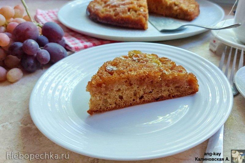 Медовый пирог-перевертыш с виноградом (+видео)