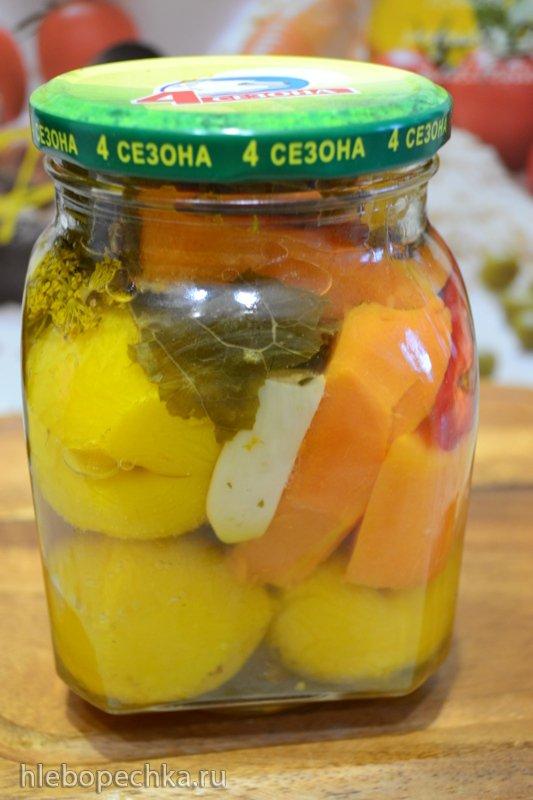 Консервированный микс с тыквой и желтой сливой