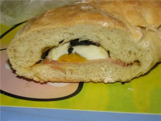 Рулет с ветчиной, яйцом, сыром и базиликом (Автор Джейми Оливер)