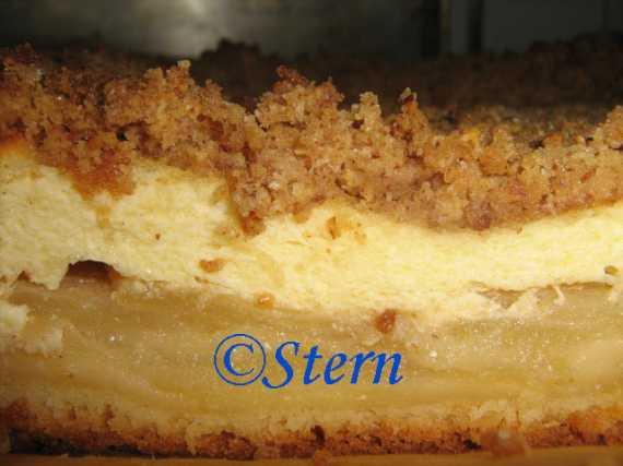 Пирог творожно-яблочный со штройзелем