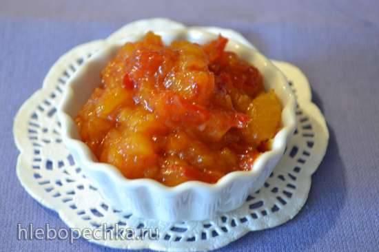 Чатни из персиков, томатов и кураги