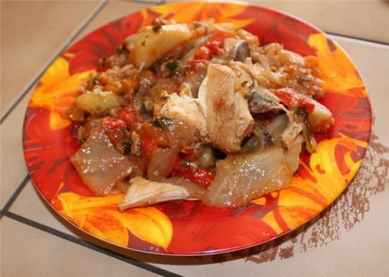 Рагу овощное со стручковой фасолью, без воды и масла Рагу овощное с курицей в мультиварке