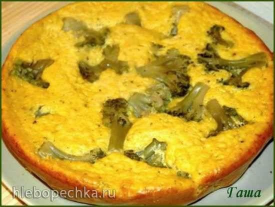 Пирог кукурузный с сыром и брокколи