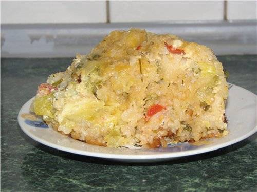 Мусака с кабачками, рисом и сыром в мультиварке Panasonic SR-TMH 18