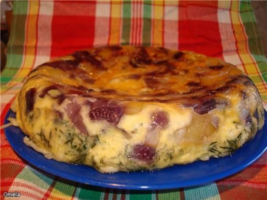 Фриттата с красным луком и картофелем (Panasonic SR-TMH10)