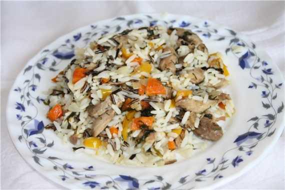 Филе бедра индейки с  овощами и рисом
