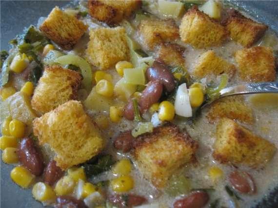 Суккоташ с крутонами- индейский суп, похлёбка(Cuckoo 1054)
