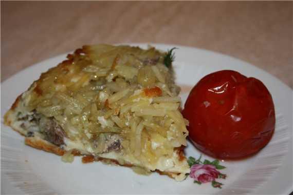 Пирог-перевертыш с рыбой и картошкой