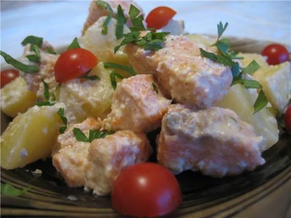 Картофель тушёный с рыбой ( Cuckoo 1054)