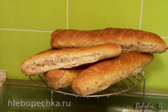 Пшенично-ржано-цельнозерновые багеты на хмелевой закваске с молочной сывороткой