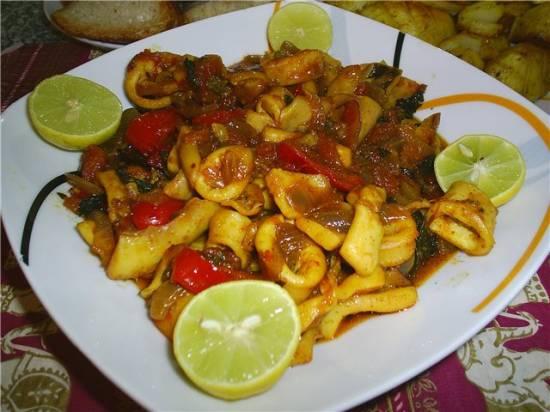"Жаркое из кальмаров ""Тагин Сибейт"" (Египетская кухня)"